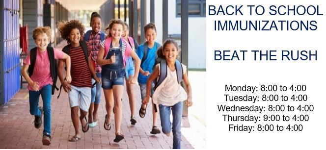 Back to School Immunizations Schedule